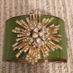 J crew cuff green enamel with gold crystal burst.